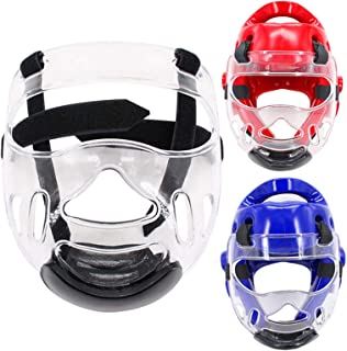 Outgeek Sport Clear Face Shield, Fansport Head Protective Gear Detachable Transparent Taekwondo Helmet Mask for Men Women