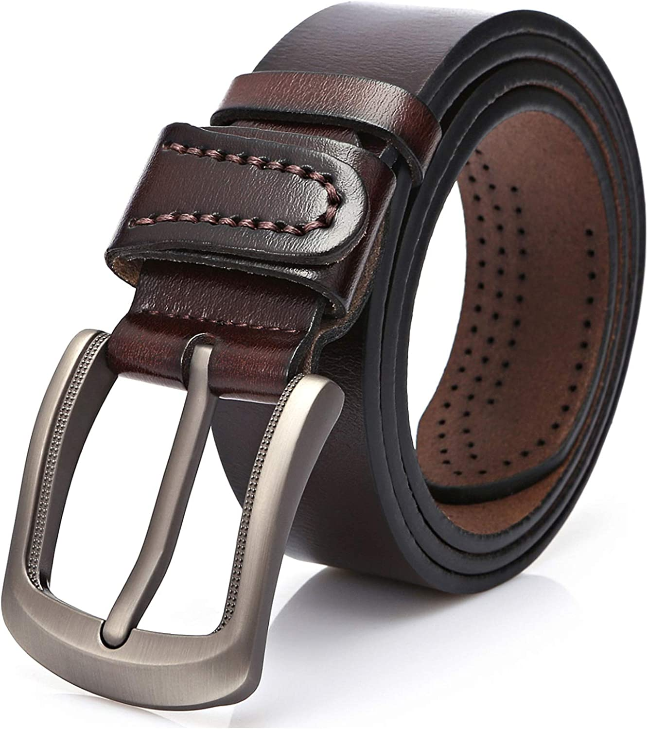 Sunahead Men's Genuine Leather Belt for Casual Wear and Jeans