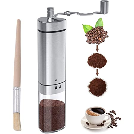 Manual Coffee Grinder Stainless Steel, Portable Hand Coffee Bean Grinder with Adjustable Conical Ceramic Burr & Brush, Hand Crank Grinder Grinder for Espresso French Press Turkish Brew