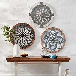 3PCS 15.7inchRetro Heritage Round Wall Art,Metal Decorative Wall Medallions,Creative Metal Home Art Wall Decor,Wooden Hanging Ornament for Home Office Livingroom Wall Decor(D)