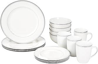 AmazonBasics 16-Piece Cafe Stripe Dinnerware Set - Grey