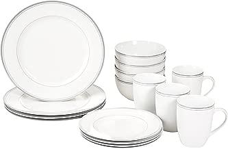 AmazonBasics 16-Piece Cafe Stripe Kitchen Dinnerware Set, Plates, Bowls, Mugs, Service for 4, Grey