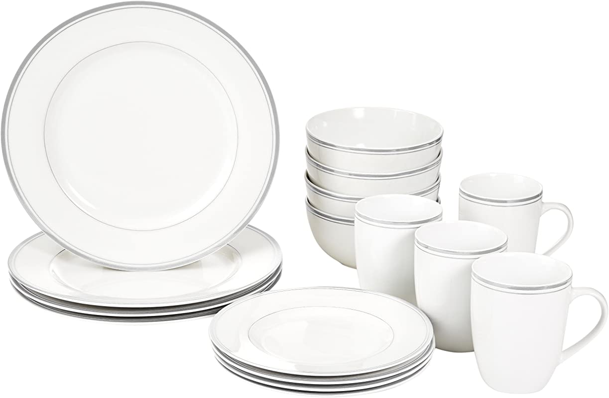 AmazonBasics 16 Piece Cafe Stripe Kitchen Dinnerware Set Plates Bowls Mugs Service For 4 Grey