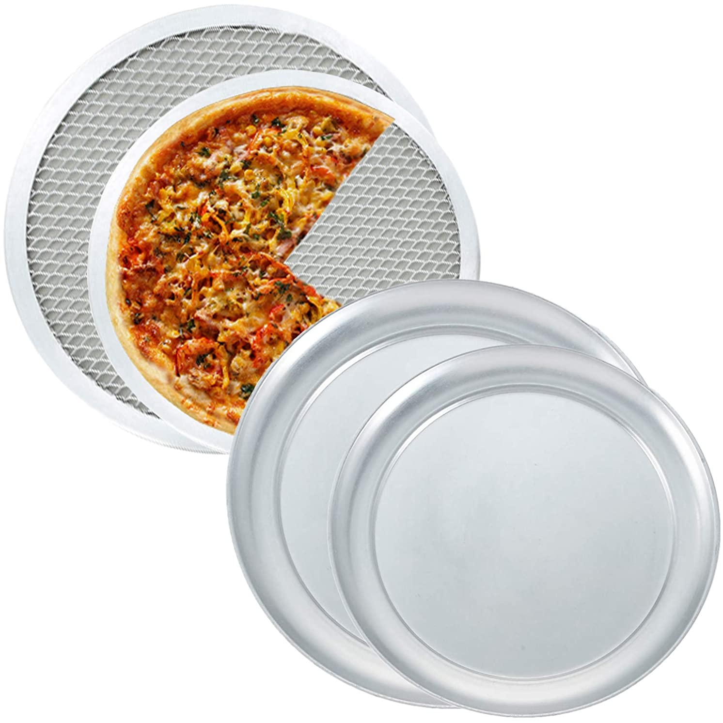 Tiger Chef Pizza Pan and Pizza Screen Set - Includes 9 inch and 12 inch Wide Rim Pizza Pans and Aluminum Pizza Screens for Oven