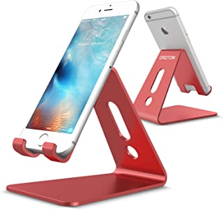 [Updated Solid Version] OMOTON Desktop Cell Phone Stand Tablet Stand, Advanced 4mm Thickness Aluminum Stand Holder for Mobile Phone and Tablet (Up to 10.1 inch), Red
