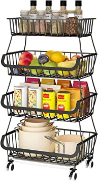 Amazon Com Apsan 4 Tier Fruit Basket For Kitchen Fruit And Vegetable Storage Cart Wire Storage Basket With Wheels Vegetable Basket Bins Rack For Onions And Potatoes Black