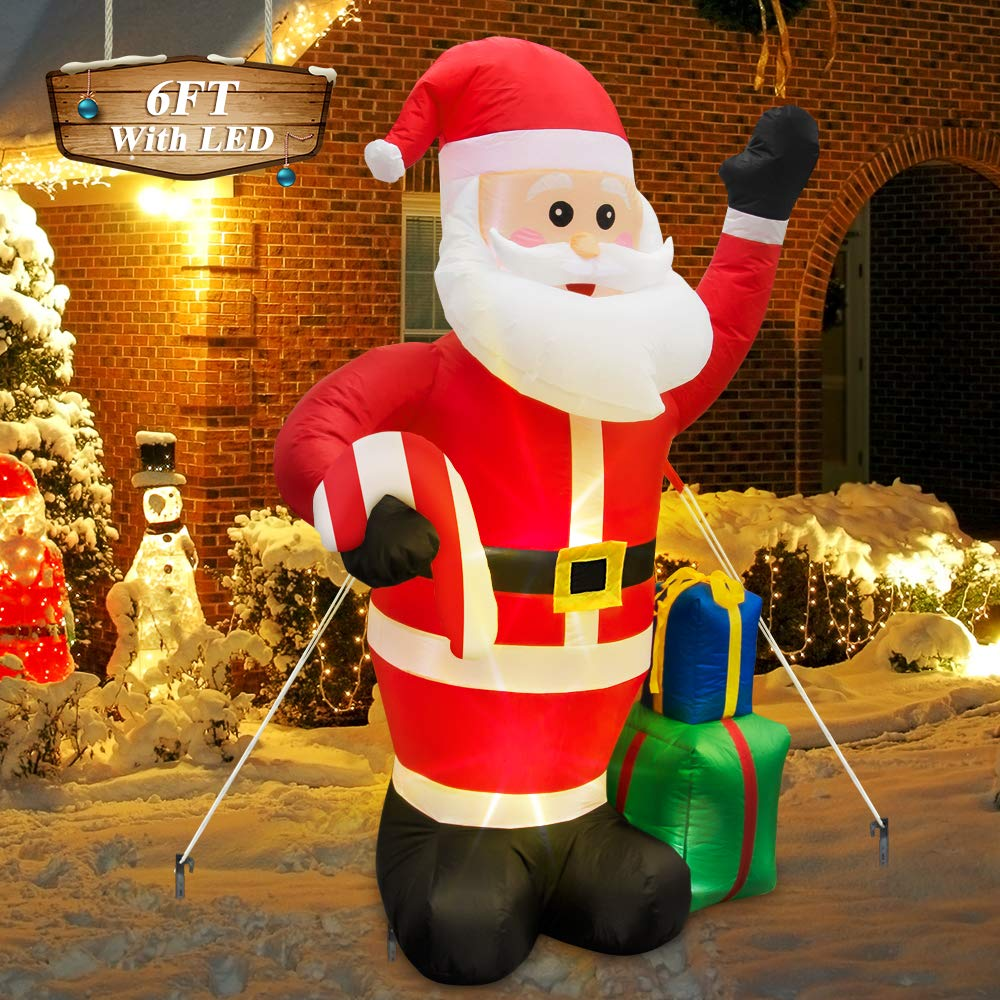 Binken 6FT Inflatable Santa Claus Christmas Yard Inflatables with Gift Boxes and Candy Cane for Christmas Blow Up Yard Decorations LED Light Up Indoor