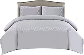 Wonder-Home 3 Piece Embroidered Cotton Comforter Set, Luxuy Elegant Hotel Bedding Set with Geometric Design, All Season Down Alternative Fill, Grey, Queen