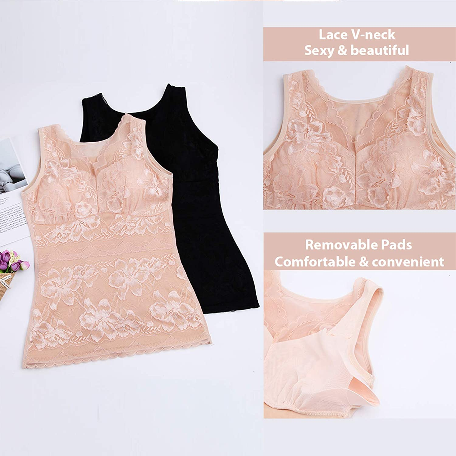 Womens Thermal Tank Top with Built in Bra Fleece Lined Thermal Underwear V Neck Lace Tank Top Winter