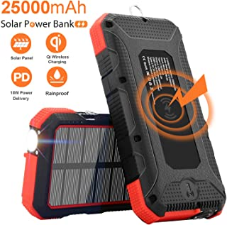 Solar Charger 25000mAh Sendowtek 10W Qi Wireless Portable Solar Power Bank 18W PD Phone Charger High-speed 4 Outputs & Dual Inputs Huge Capacity Backup Battery Flashlight Rainproof for Outdoor Camping