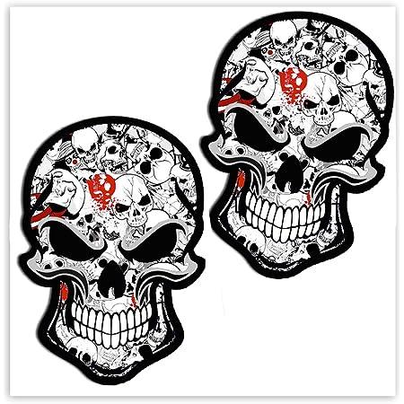Skinoeu 2 Stück Vinyl Aufkleber Autoaufkleber Bomb Stickers Skull Schädel Totenkopf Horror Stickers Auto Moto Motorrad Fahrrad Helm Fenster Tür Tuning B 52 Auto
