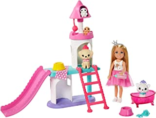 Barbie Princess Adventure Chelsea Pet Pet Playset ، با عروسک بلوند چلسی (6 اینچ) ، 4 حیوان خانگی و لوازم جانبی ، هدیه برای کودکان 3 تا 7 ساله