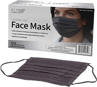 FLTR General Use Face Mask, 50 Disposable Masks (50, Black)