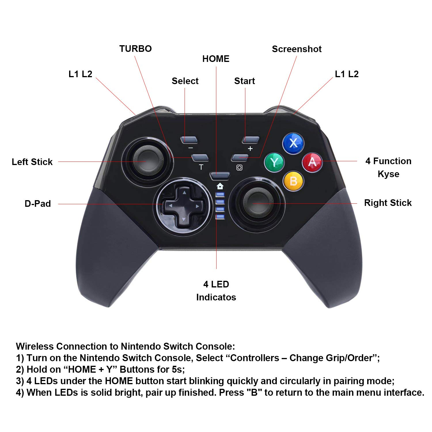 Wireless Pro Controller Compatible with Switch Gyro Axis Dual Shock Gaming Gamepad Joypad, Black- PAWHITS