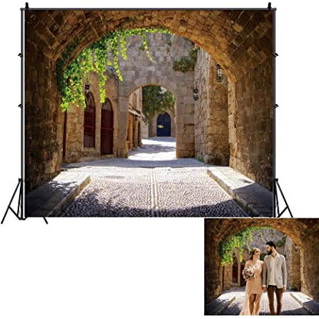 SZZWY 7x5ft Jerusalem Old Narrow Street Backdrop Spring Flowers Sunshine Background for Photography Wedding Party Supplies Adults Kids Photo Booth Wallpaper