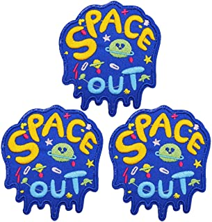U-Sky Cool Iron on Universe Patches for Kids Clothing, 3pcs Space Out Embroidered Sew-on/Iron-on Appliques Denim Patch for Space Fans, Jackets, Backpacks, Vest, Jeans, Shirt, Size: 3.2x2.8 inch