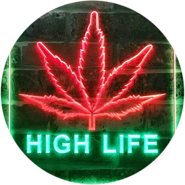 ADVPRO 低価格 High Life Marijuana Bedroom Décor Dual Color 秀逸 Bar LED Neon