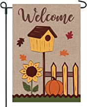 JEC Fall Garden Flag With Birdhouse on Burlap - Welcome Garden Flag - 12x18 on Burlap - Home Garden Flag, Autumn Garden Flag