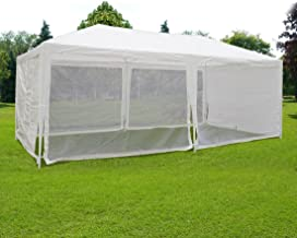 Quictent Outdoor Canopy Gazebo Party Wedding Tent Screen House Sun Shade Shelter with Fully Enclosed Mesh Side Wall (10'x20', White)