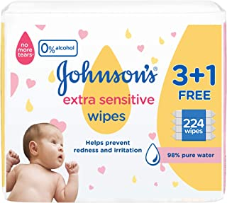 JOHNSON'S Baby, Wipes, Extra Sensitive, 98% pure water, 3+1 packs of 56 wipes, 224 total count 29162