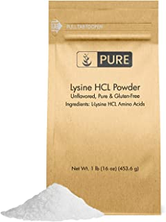 100% Pure Lysine HCL Powder | No Fillers, Made in USA, Vegetarian, Unflavored, No Gluten, Potent, Highest Quality L-Lysine HCl with No Additives, Eco-Friendly Packaging (1 Lb)
