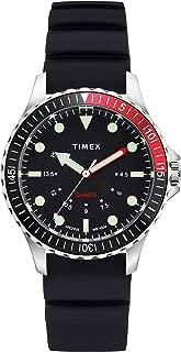 Men's Navi Depth 38mm Silicone Strap Watch, Steel/Black Dial (TW2U25700LG), One Size