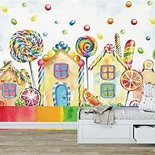 Pintado a mano casa de dibujos animados lollipop papel tapiz mural vivero dormitorio vivero decoración de la pared pintura 250×175cm
