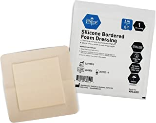 Medpride Adhesive Silicone Bordered Foam Wound Dressing Pads- 6 inches by 6 inches, 10 Pack-Trauma Bandaging for Ulcers, Post Op Wounds, Injuries- Individually Wrapped-Sterile, Pain-Free Removal