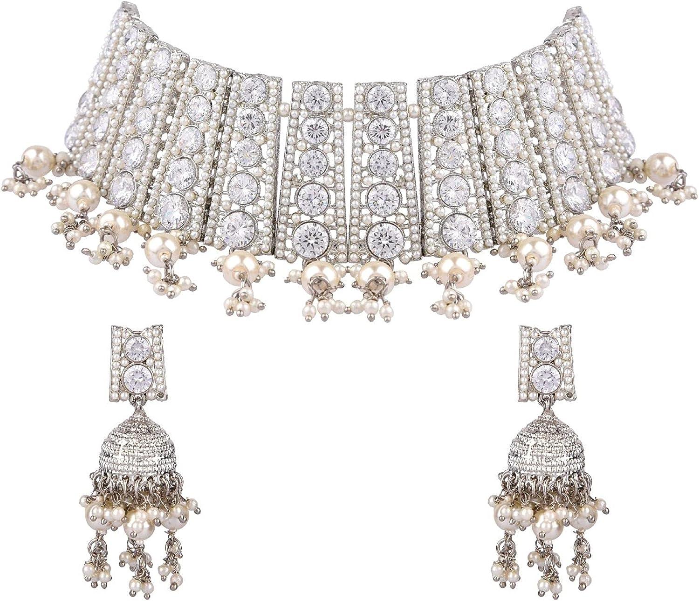 Efulgenz Indian Jewelry Bollywood Faux Pearl Crystal Choker Necklace Earrings Wedding Jewelry Set for Women Girls