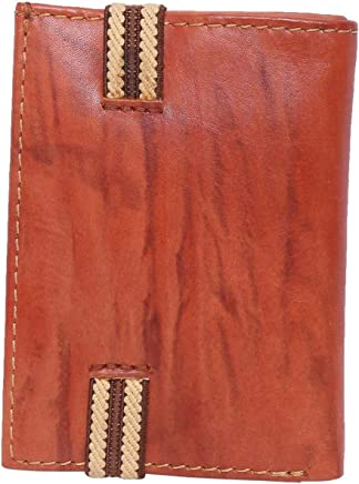 Laveri Bill and Card Holder Wallet with Elastic Band for Unisex - Leather, Brown