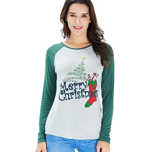 a1985cbaa5a578 Idgreatim Women Christmas Print Long Sleeve Crew Neck T Shirt Tops Blouse