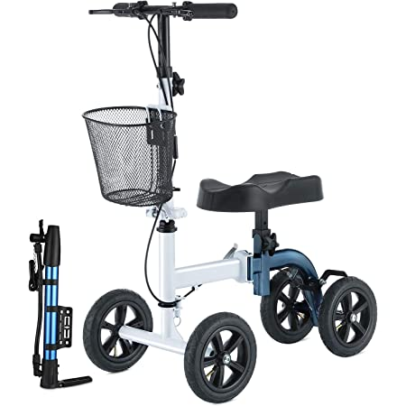 RINKMO Knee Scooter,All-Terrain Foldable Knee Scooter Walker Economical Knee Scooters for Foot Injuries Best Crutches Alternative (White+Blue)