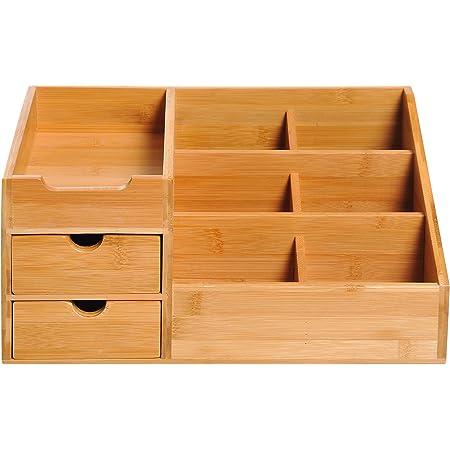 HOMCOM Boite de Rangement de Bureau - Organiseur de Bureau - 7 Compartiments, 2 tiroirs - Bambou Verni