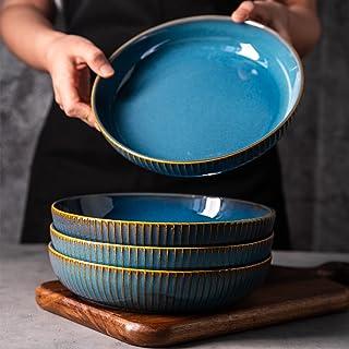 Lot de 4 Assiette Creuse,21cm Assiette à Saladier en Céramique, assiettes à dîner, bleu