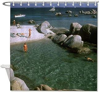 "VinMea Decorative Fabric Shower Curtains with Hooks Slim Aarons Estate Print Waterproof Decorative Bathroom 60""X72"""