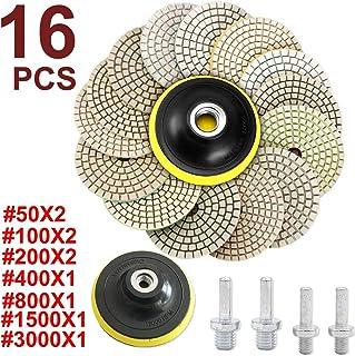 Almohadillas de pulido en húmedo de diamante Disco de rueda pulidora, almohadilla de respaldo de rosca universal M10, piedra/disco de rueda de pulido Grano para pulir granito, mármol, piedra caliza