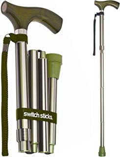 Switch Sticks Aluminum Adjustable Folding Cane and Walking Stick collapses and adjusts from 32 to 37 inches, Huntington
