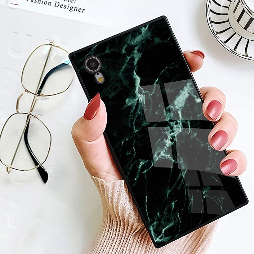 BestCasee Phone Case for iPhone XR, Square Classic Marble Design Novelty Soft TPU Shockproof Protective Cover Case for iPhone XR 6.1 Inch(2018)