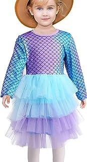 Little Girls Dress Toddler Girls Cotton Long Sleeve Flower Dress Kids Unicorn Appliques Striped Jersey Dress