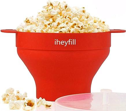 iheyfill Popcorn Popper, Mikrowellen-Silikon Popcorn Maker, zusammenklappbare Schüssel mit Griffen preisvergleich bei geschirr-verleih.eu