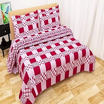 Edifice Couture 250 Tc Poly Cotton Double Bedsheet with 2 Pillow Covers - Maroon