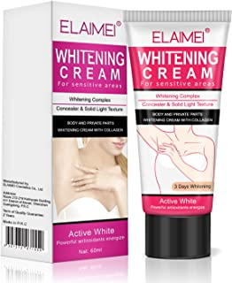 Quick Whitening Cream for Sensitive Areas, Collagen and Milk Complex Whitening and Rejuvenating Body Skin Makeup Cosmetic