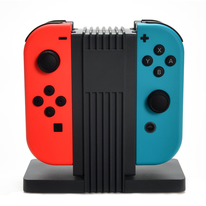 AGPtek Estación de Carga 4 en 1 para mandos de Nintendo Switch, Dock Profesional de Carga