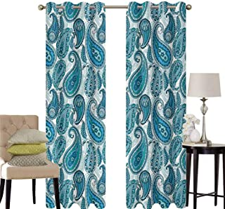 hengshu Paisley Black Out Window Curtain 2 Panel Ocean Inspired Design with Stripes and Flowers Abstract Background Image Print Living Room Curtains for Bedroom W100 x L63 Inch Blue and White