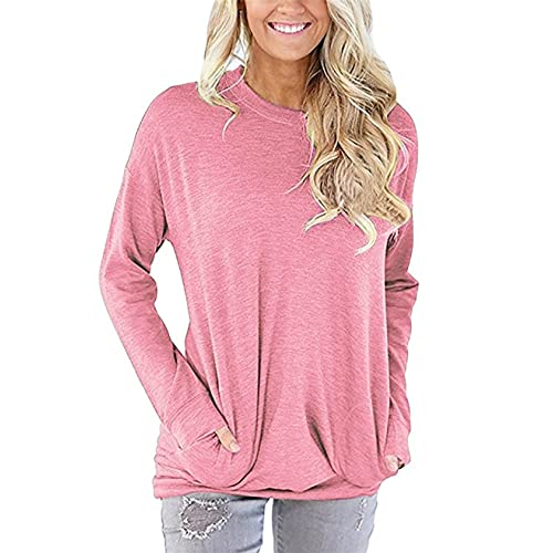 d27137840dd2 UXELY Women's Casual Comfy Long Sleeve Pullover Tunic Tops Round Neck  Sweatshirt Loose Soft with Pockets