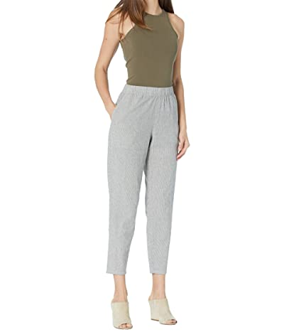Eileen Fisher Organic Cotton Linen Ticking Stripe Ankle Pants (Black/Soft White) Women