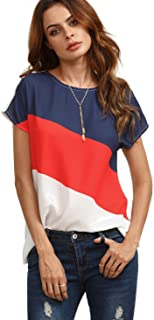 Women's Color Block Blouse Short Sleeve Casual Tee Shirts Tunic Tops