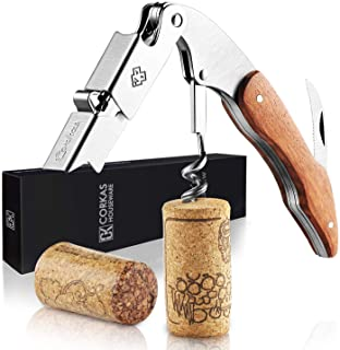 CORKAS Tire-Bouchon Professionnel, Couteau de Sommelier, Couteau de Serveur avec Décapsuleur et Coupe-Capsule, Ouvre Boute...