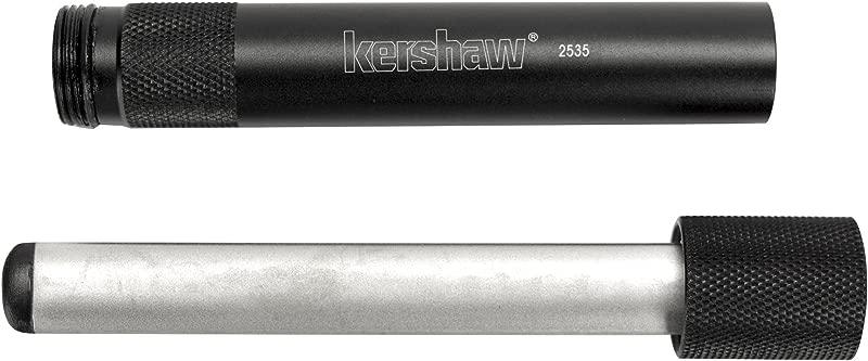 Kershaw Ultra Tek Blade Sharpener 2535 4 Inch Sharpening Steel 600 Grit Diamond Coated Oval Shaft Lightweight 6061 T6 Anodized Aluminum Handle Compact Portable Design 2 1 Oz