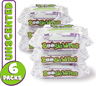 Boogie Wipes, Unscented Wet Wipes for Baby and Kids, Nose, Face, Hand, and Body, Soft and Sensitive Tissue Made with Natural Saline, Aloe, Chamomile and Vitamin E, 30 Count (Pack of 6)
